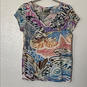 Lucky Brand Butterfly tee peace heart Large. (D)